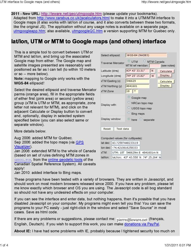 Find a Location on Bing, Google and USGS Topo Maps Using UTM, Lat-Long or MTM (Canada)