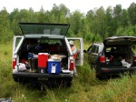 Each site requires lots of equipment to sample the vegetation in five 100 meter square plots along with soil samples.
