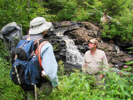 Staff from DEC and TNC helped us access some of the more remote sites.  Here Todd Dunham from TNC shows us a small waterfall near one of our sites.