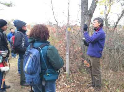 Michael showed us how some bark types, like black cherry, form scales that peel off easily.